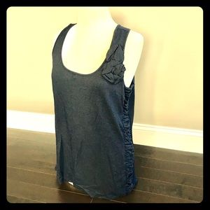NWT Cynthia Steffe Navy tank with side ruching